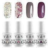 Y&S Soak Off Gel Nail Polish Sets Glitter 4 Colours UV LED Gel Polish Set Nail Salon Art Starter Kit #001, 8ml