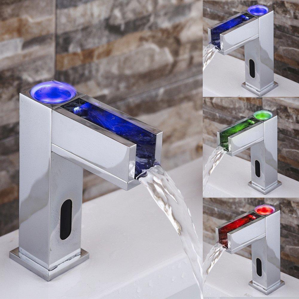 MIAORUI neue led - lampe wasserfall becken voll automatische wasserhahn   kupfer mit kalten und warmen wasser am waschbecken wasserhahn gemäßcht
