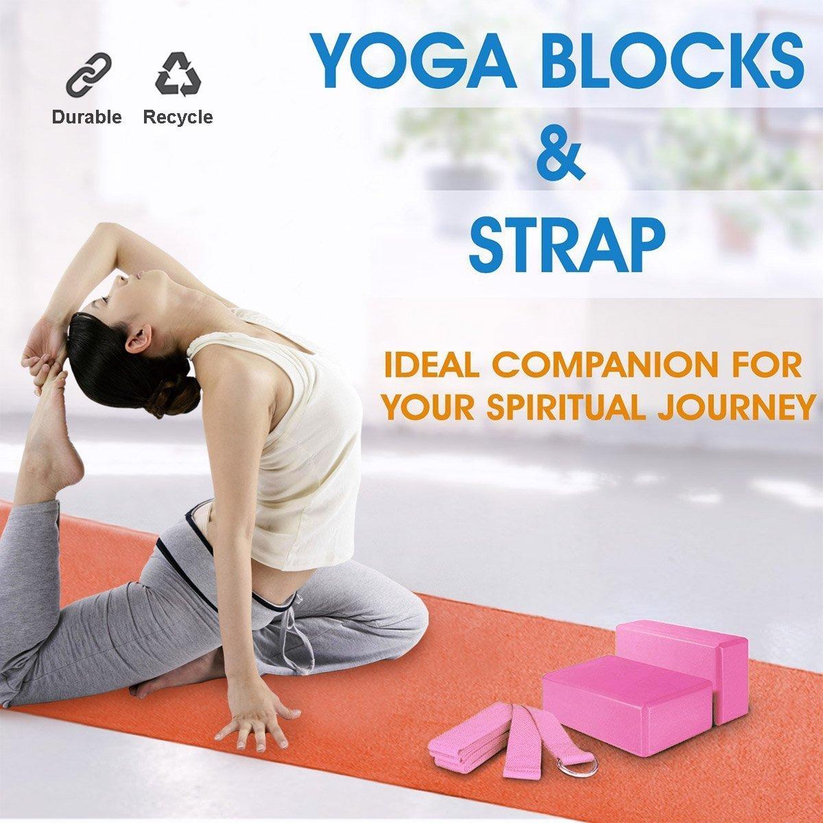 JIMS STORE Bloque de Espuma Correa,Bloque de Yoga Ejercico EVA de Alta Densidad para Mejorar Fuerza y Flexibilidad Yoga Pilates Amantes