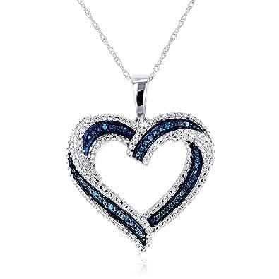 Amazon blue diamond heart pendant 10k white gold jewelry blue diamond heart pendant 10k white gold mozeypictures Image collections