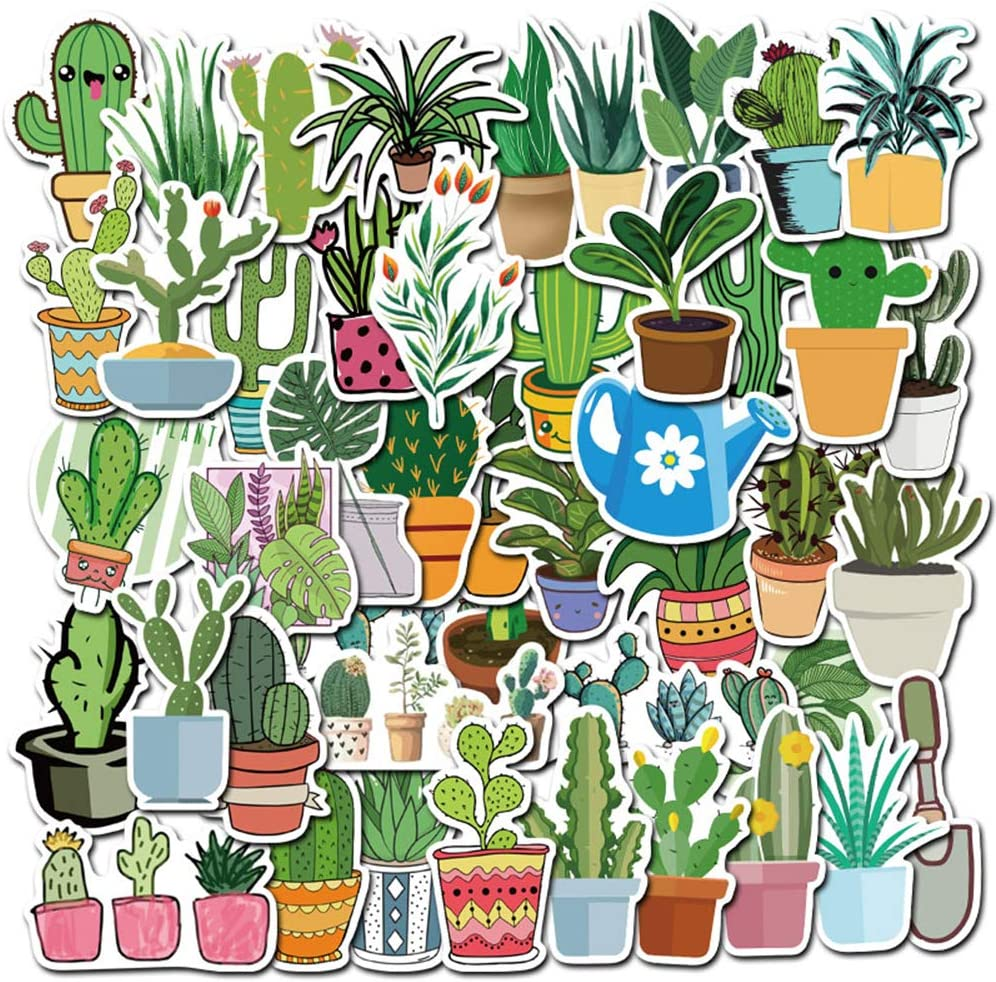 Succulent Plants Stickers 45-Pack Cute,Waterproof,Aesthetic,Trendy Stickers for Teens,Girls,Perfect for Laptop,Hydro Flask,Phone,Skateboard,Travel| Extra Durable Vinyl (Succulent Plants)