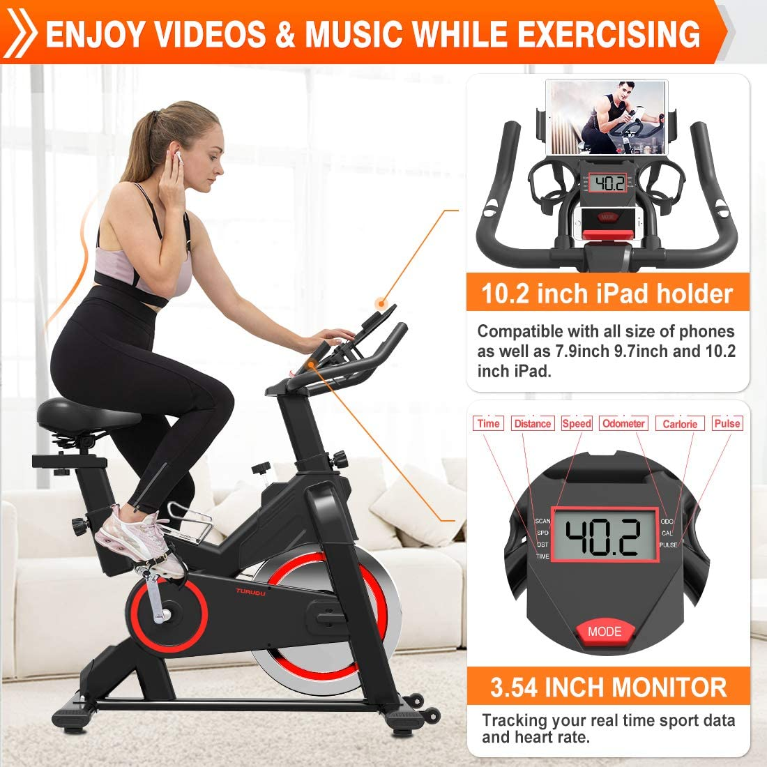 TURUDU Spin Bike Indoor Cycling Bike Stationary Belt Drive Indoor Exercise Bike for Home Cardio Gym with 35 LBS Upgraded Solid Flywheel LCD Display /& Comfortable Seat Cushion