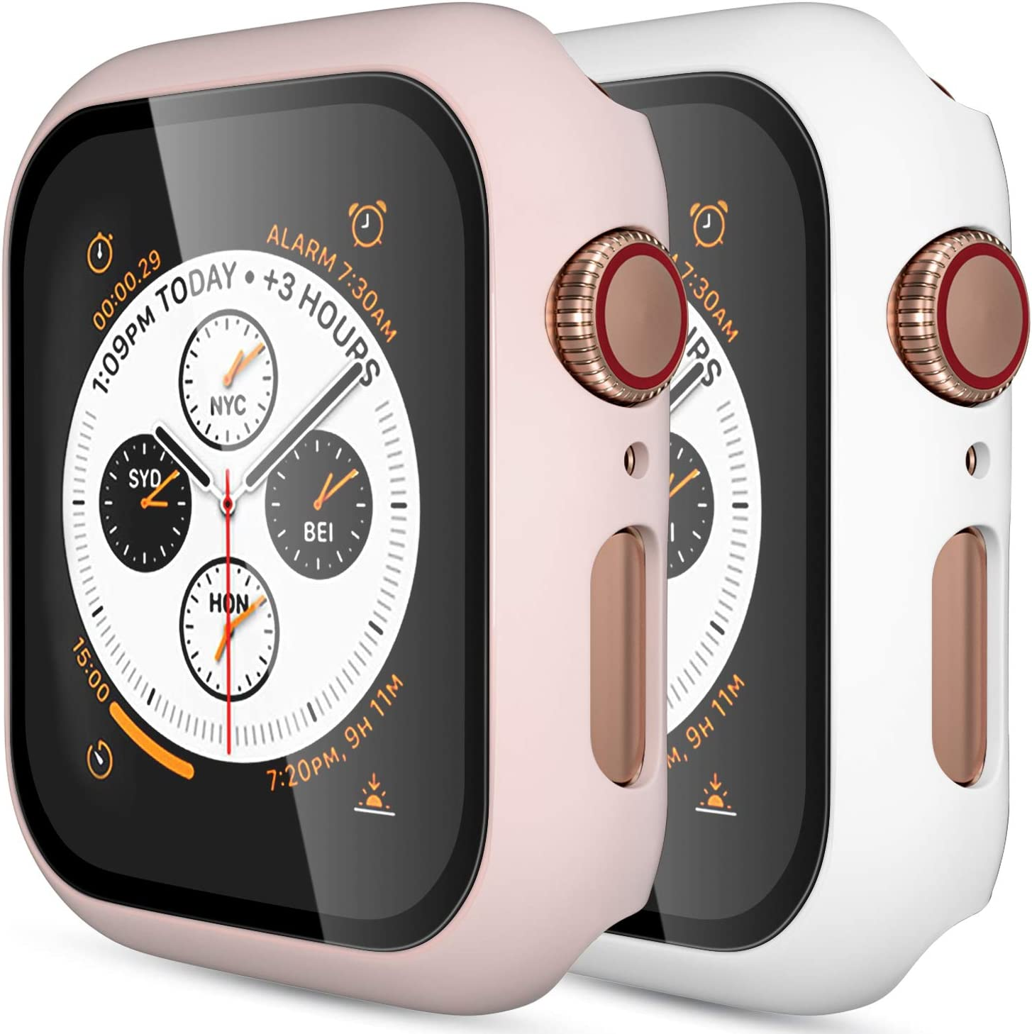 (2 Pack) GEAK Hard Case for Apple Watch 42mm Series 3 with Screen Protector, Full Body Protective Bumper Case Cover for iWatch Series 2/1, Matte White/Matte Pink