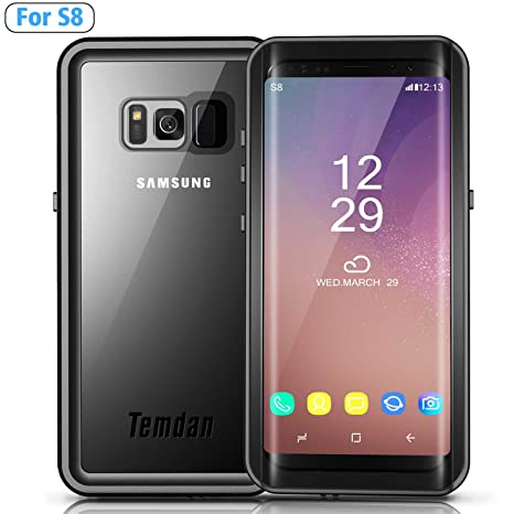 finest selection de16e 820ad Temdan Galaxy S8 Waterproof Case Rugged Built in Screen Protector with  Floating Strap Shockrproof Waterproof Case for Samsung S8 (5.8inch)- Black