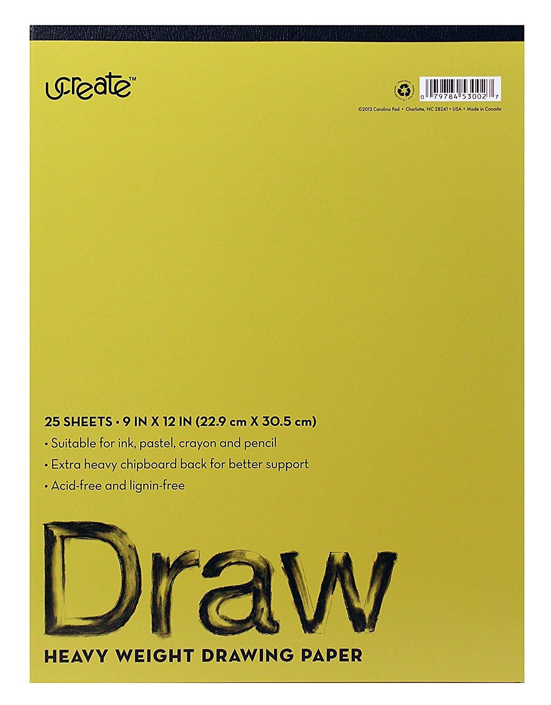 U-Create Drawing Pad, 12 x 9, Acid & Lignin Free, 75 lb Paper (7412) 12 x 9 Carolina Pad