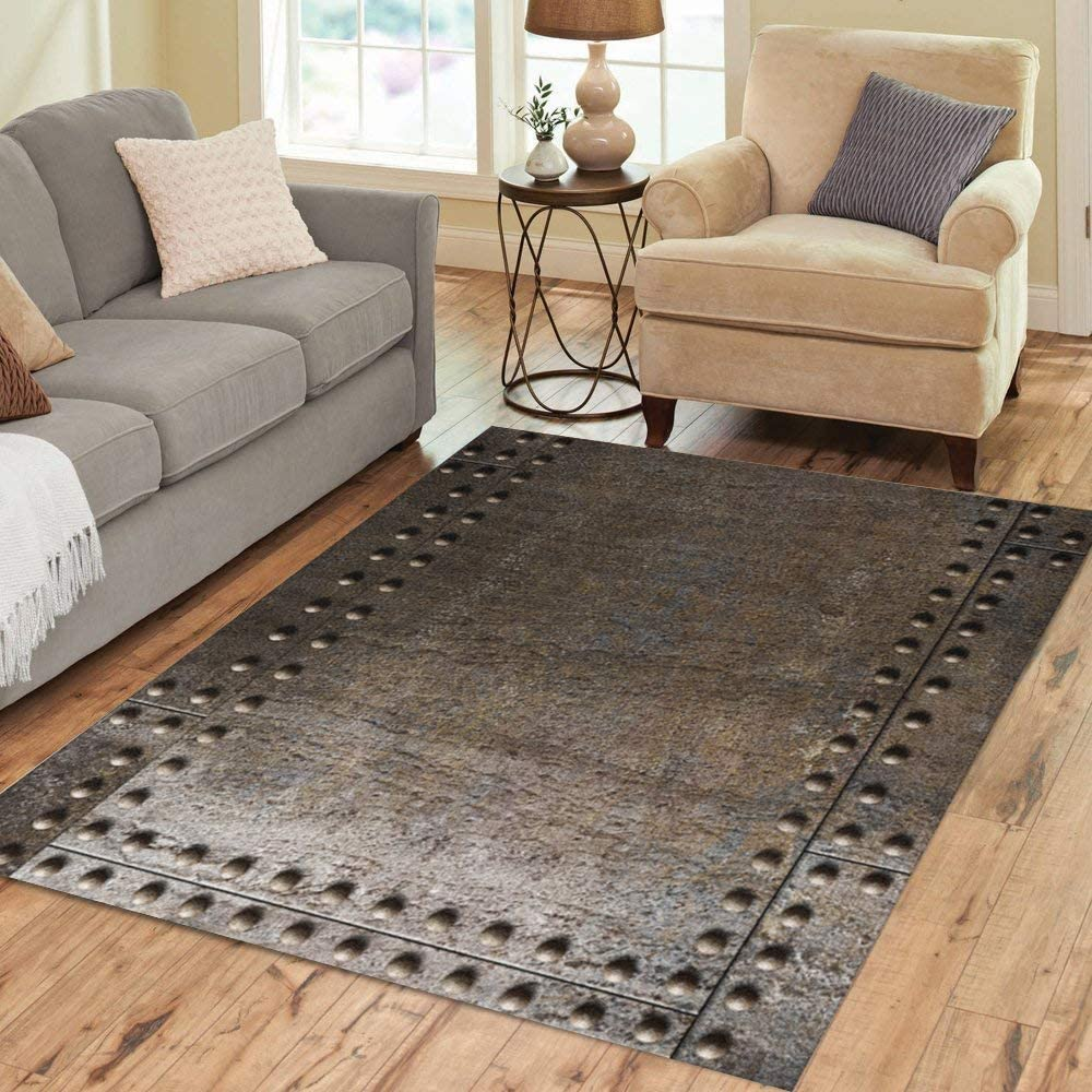 Pinbeam Area Rug Punk Metal Rivets Steam Rustic Rusty Battleship Submarine Home Decor Floor Rug 3 X 5 Carpet Kitchen Dining