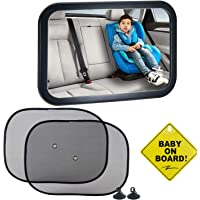 Emwel Baby Car Mirror with Sign & Car Window Roller Shades, Baby Shatterproof Rear View Mirror for Rearward Facing Child Seat, Fits Any Adjustable Headrest Tilt and Turn Function