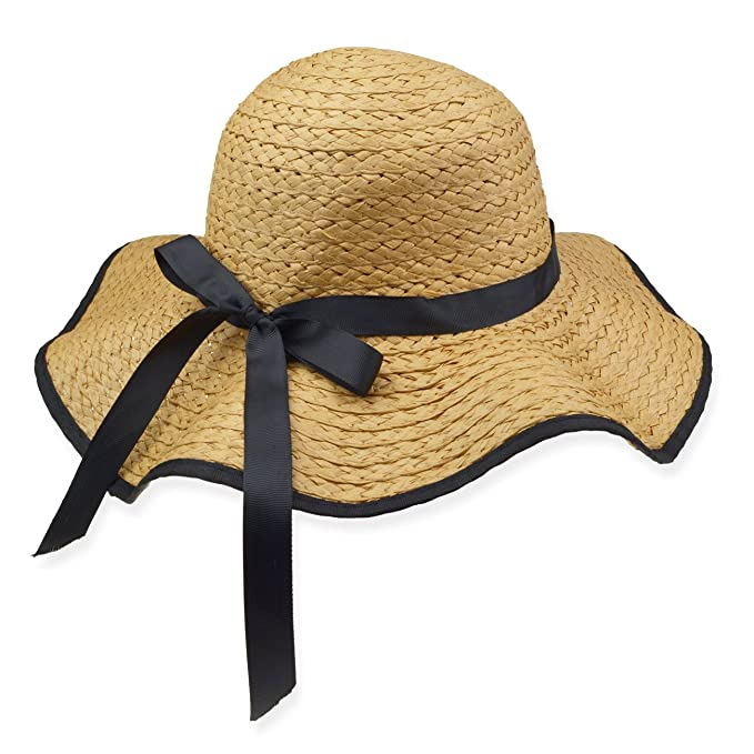 5ea48185 DRESHOW Floppy Beach Hat for Women Large Brim Straw Sun Hats Roll up  Packable UPF 50