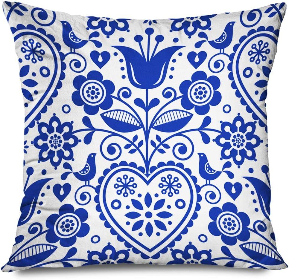 Ahawoso Throw Pillow Cover Square 16x16 Navy Souvenir Leaf Folk Pattern Blue Europe Creative Retro Cute Danish Repetitive Denmark Northern Decorative Pillowcase Home Decor Zippered Cushion Case