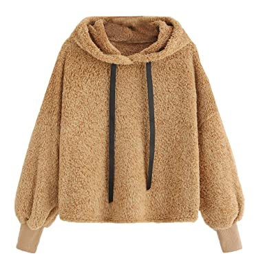 05973f2367e6 KIMODO Pullover Damen, Herbst Lang Plüsch mit Kapuze Rundhals Sweatshirt  Kapuzenpullover Kapuzenjacke Hoodie Bluse  Amazon.de  Bekleidung