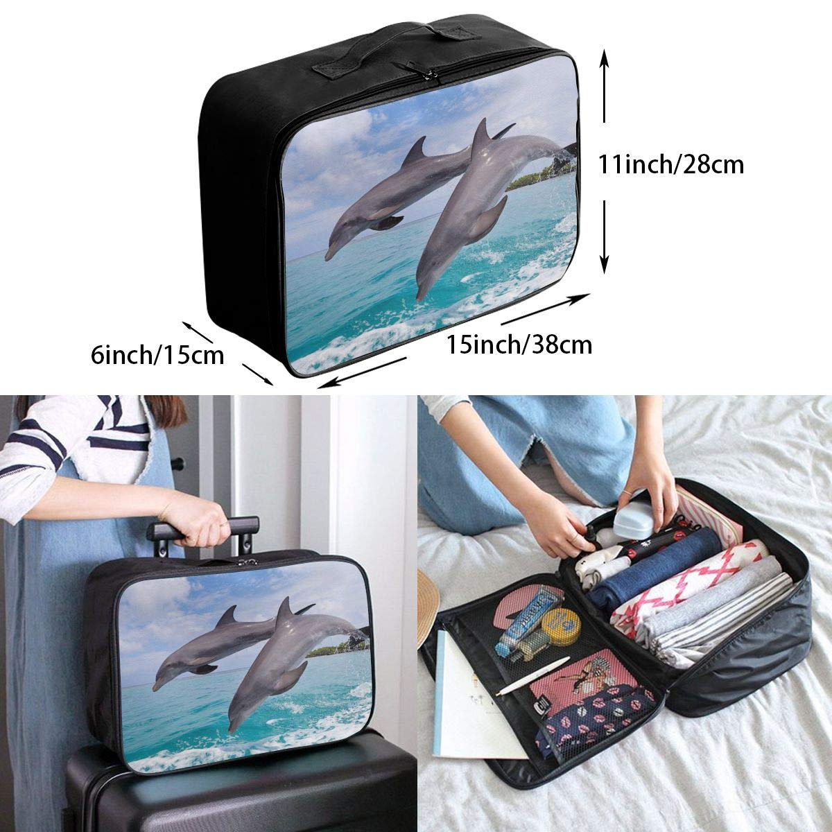 Cute Dolphin Travel Lightweight Storage Carry Luggage Duffle Tote Bag