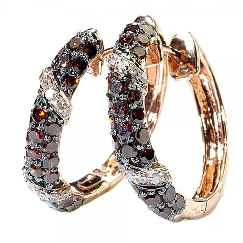 Dazzlingrock Collection 0.85 Carat ctw Round White Champagne Diamond Ladies Hoop Earrings, Rose Gold
