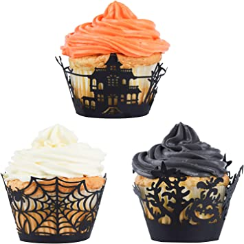 Pack of 25-9 colors Halloween Inspired Skulls Laser Cut Cupcake Wrappers