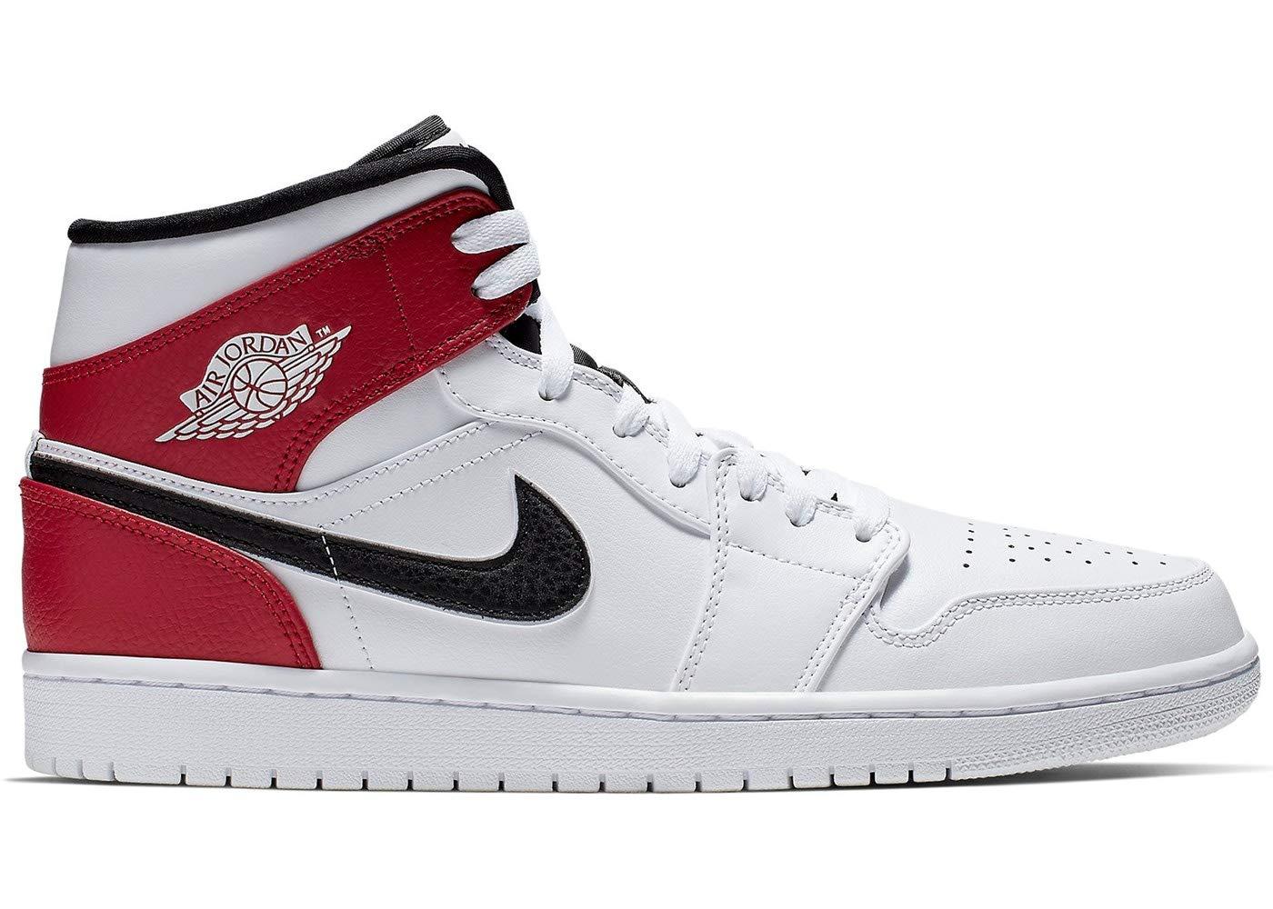 Nike Men's Jordan AJ 1 Mid White/Black/Gym Red Leather Casual Shoes 10 M US by Nike