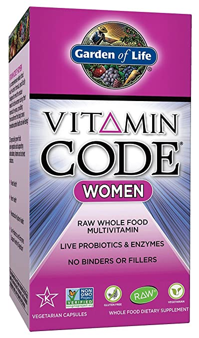 Garden of Life Vegetarian Multivitamin Supplement for Women - Vitamin Code Women's Raw Whole Food Vitamin with Probiotics, 120 Capsules