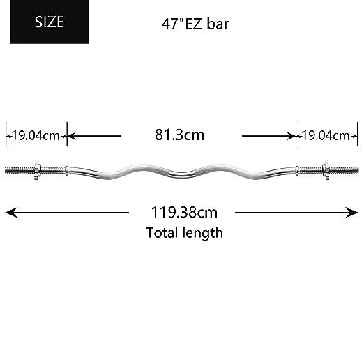 PROIRON Barra de Levantamiento de Pesas Estándar EZ Curl Bar 120cm de Cromo Macizo con 2 Collares spinlock: Amazon.es: Deportes y aire libre