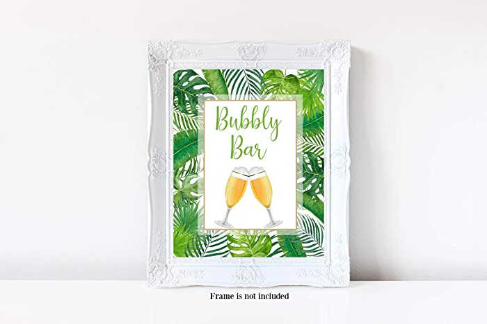 bubbly bar sign tropical bubbly bar tropical bridal shower champagne bar sign