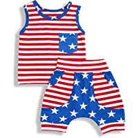 GRNSHTS Baby Boys 4th of July Shorts Set American Flag Star Vest Hoodie + Striped Shorts 2pcs Independence Day Outfits