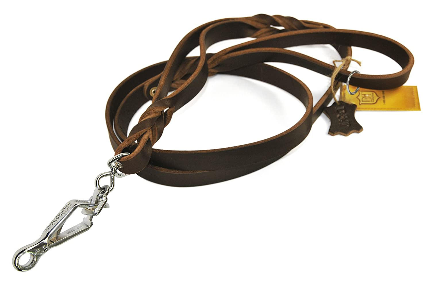 Dean & Tyler Brown Braidy Bunch Sprenger Snap Leash with Ring on Handle, 2-Feet by 3 4-Inch