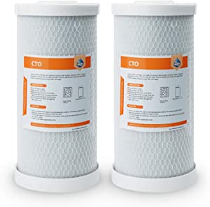 "Membrane Solutions 5 Micron Big Blue Carbon Block Water Filter Cartridge, 10"" x 4.5"" Universal Whole House CTO Coconut Shell Replacement Filter 2-Pack"