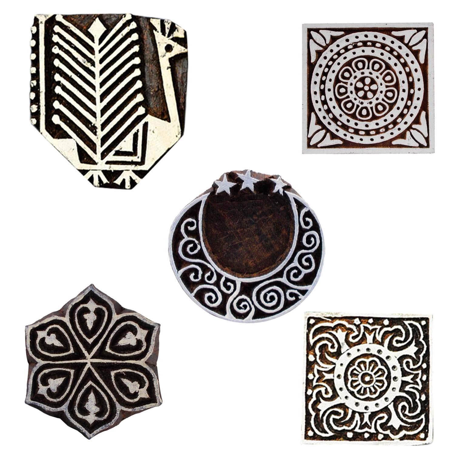 Printing Block Indian Floral, Moon Star, Peacock and Square Craft Wooden Stamps Textile Scrapbook Blocks Set of 5