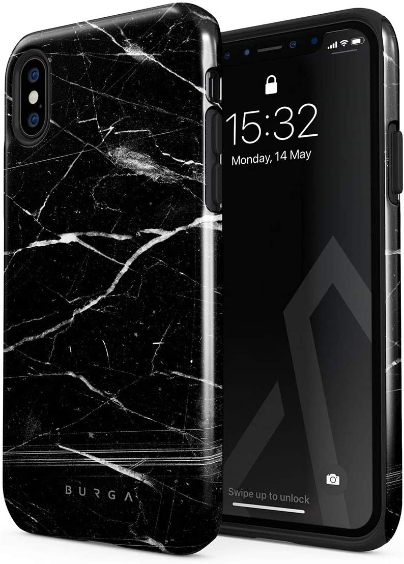 BURGA Phone Case Compatible with iPhone Xs MAX - Noir Origin Black Marble Cute Case for Women Heavy Duty Shockproof Dual Layer Hard Shell + Silicone Protective Cover