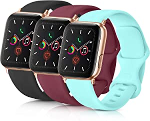 Pack 3 Compatible with Apple Watch Band 38mm 40mm 42mm 44mm, Soft Silicone Band Replacement for Apple iWatch Series 4, Series 3, Series 2, Series 1 (Black/Wine Red/Light Blue, 38mm/40mm-S/M)