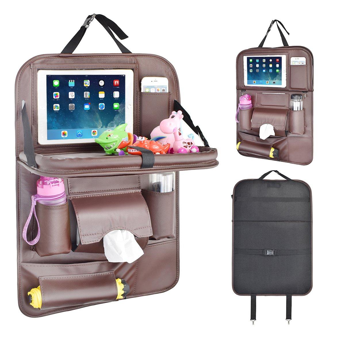 Suasi PUレザー車Backseat Organizer for Baby withトレイ折りたたみ式ダイニングテーブルデスクシート背面タブレットiPadホルダーティッシュストレージバッグポケットキッズ旅行 ホワイト SUYUM-002  1 Pack Brown B07CH9YBXW
