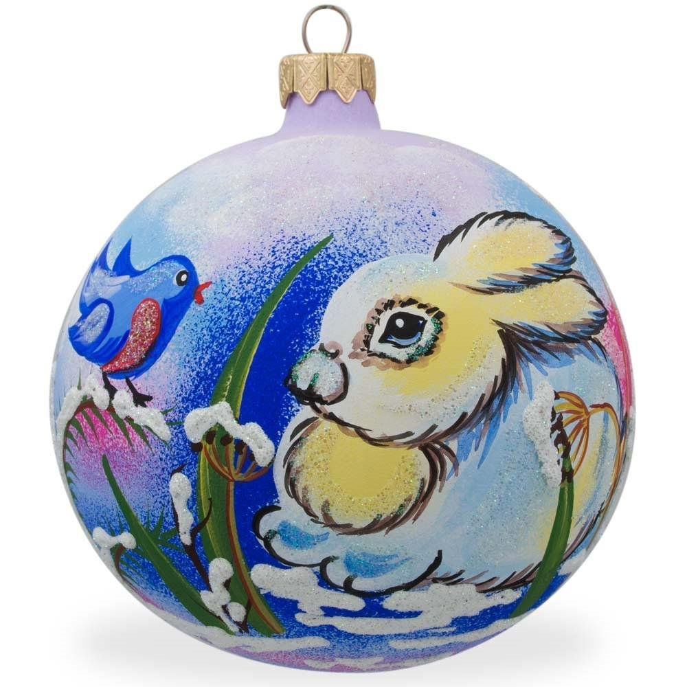 BestPysanky 4'' Bunny Rabbit and Bird, Animal Glass Ball Christmas Ornament