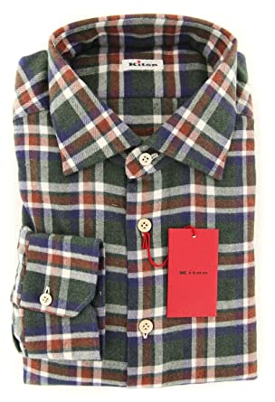 a118c3cb12 Amazon.com  Kiton New Multi-Colored Plaid Flannel Slim Shirt  Clothing