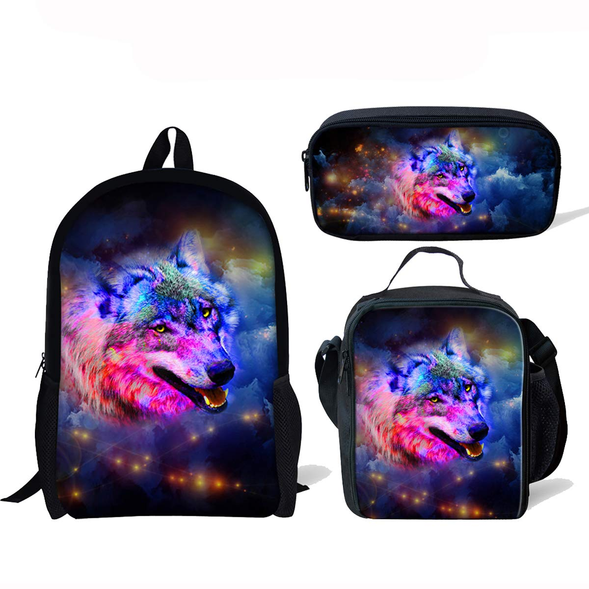 ThiKin Cute Galaxy Wolf School Backpacks for Kids Boy Girls Lightweight Backpack Bookbags Set by Micandle