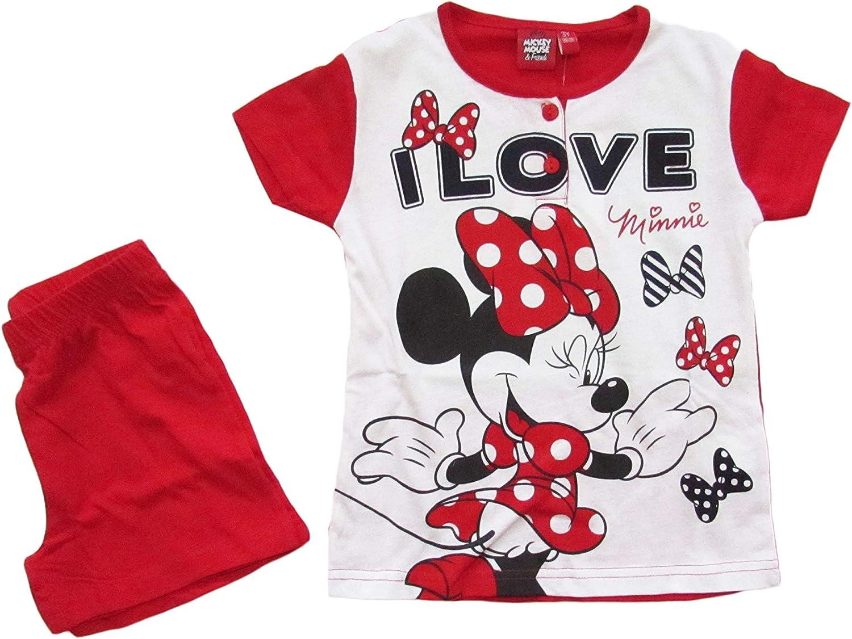 46316 Disney Pigiama Bambina Minnie Mouse Estivo in Cotone a Maniche Corte
