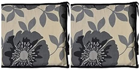 Penthouse Sleep Floral Square CHAIR PADS for Kitchen Dining or Garden Chairs Vibrant Colors Seat Cushion Pads Isla Black, 2