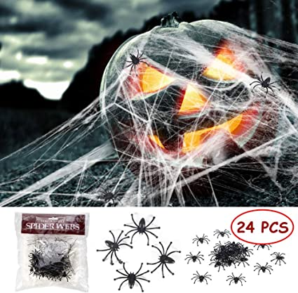 Halloween Stretch Spider Webs Webbing with 25 Fake Spiders for Halloween Outdoor//Indoor Decorations Party Supplies Funny Trick or Treat Times