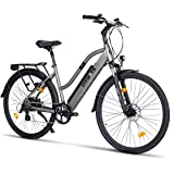Fitifito CT28 Zoll Elektrofahrrad Citybike E-Bike Pedelec, 36V 250W Heckmotor, 16Ah 576Wh LG Cells Lithium-Ionen USB 7 Gang Shimano Schaltung