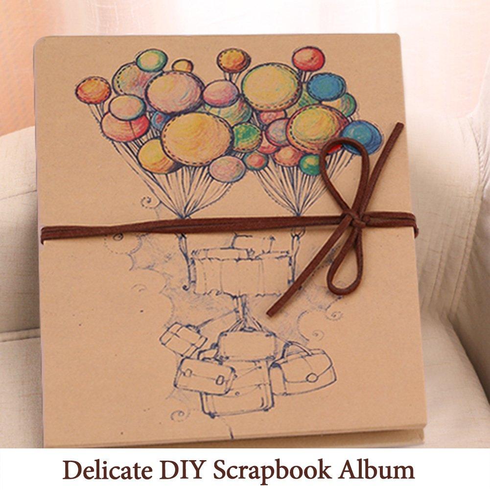 Album di Foto Album di Fisarmonica con Immagine di Palloncino sulla Copertina Artigianato di Stile Vintage Fai-da-Te Scrapbook Artigianato Carta Kraft
