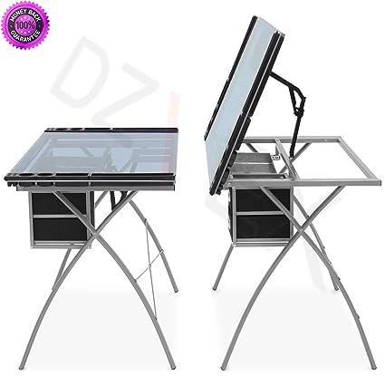 Amazon.com: DzVeX_Office Drawing Desk Station Tempered Glass ...