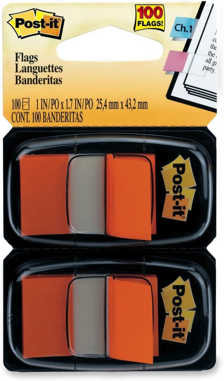 Standard Tape Flags in Dispenser Orange Post-it Flags Assorted Color Flag Refills 100 Flags//Dispenser