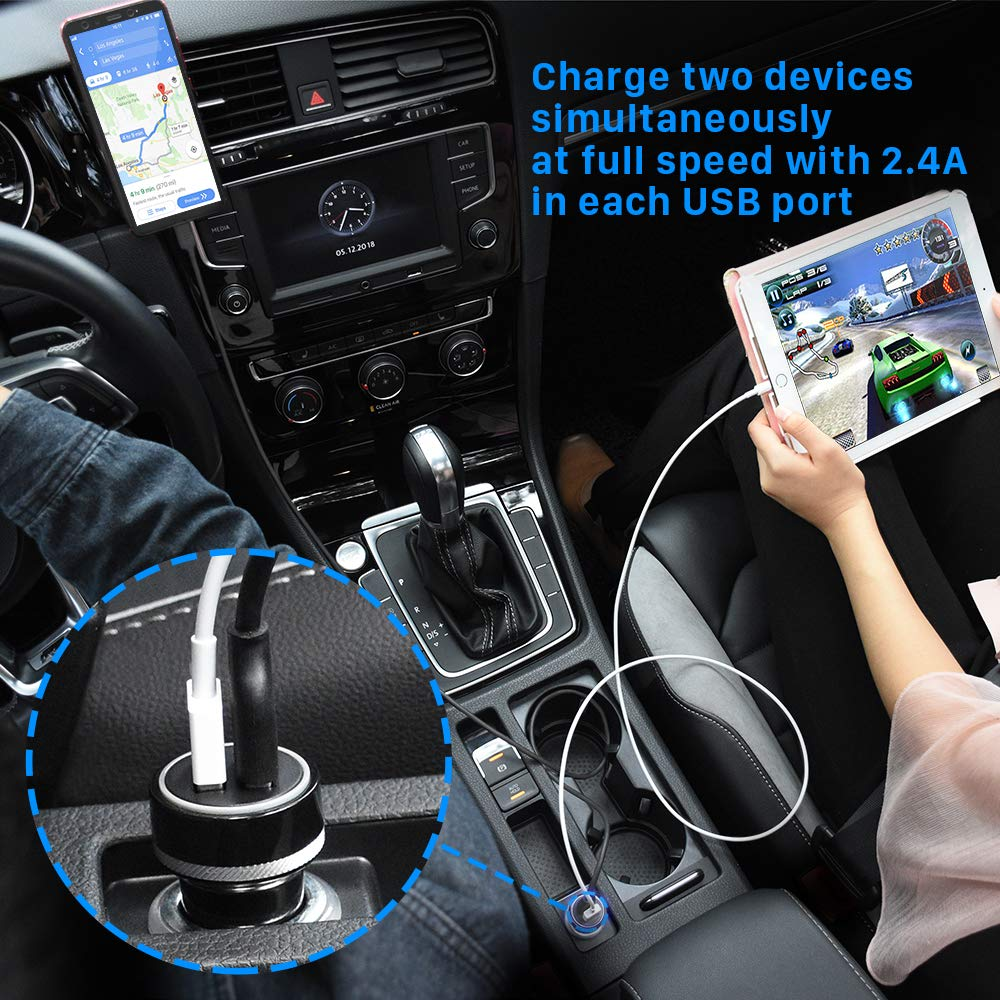 YOSH Car Charger 24W Dual Ports USB Car Charger Adapter Fast Charging Compatible with iPhone Xs Max XR 8 7 6 6S Plus Galaxy Note 9 Note 8 S9 S8 Plus S7 Edge Pixel 3 and More iPad Pro 11//Air 2//Mini 3