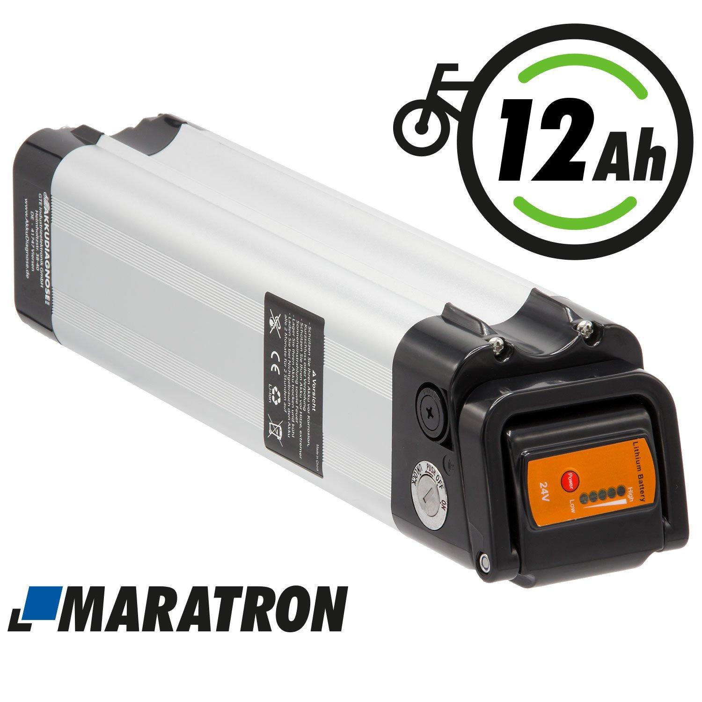 Maratron Komplettset Akku f/ür E-Bike Pedelec 24V Prophete 25,9V 12Ah 288Wh f/ür u.a Phylion,MiFa Rex