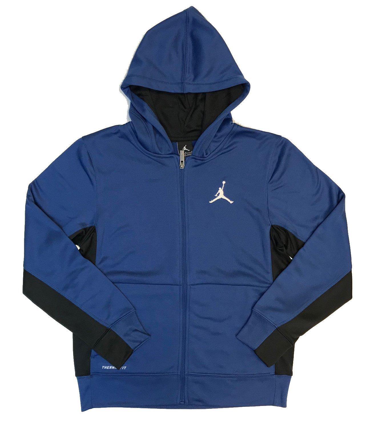 NIKE Air Jordan Boys' Therma-Fit Jumpman Full Zip Hoodie (Blue/Black, Large)