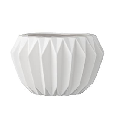 Bloomingville A21900018 Round White Fluted Ceramic Flower Pot