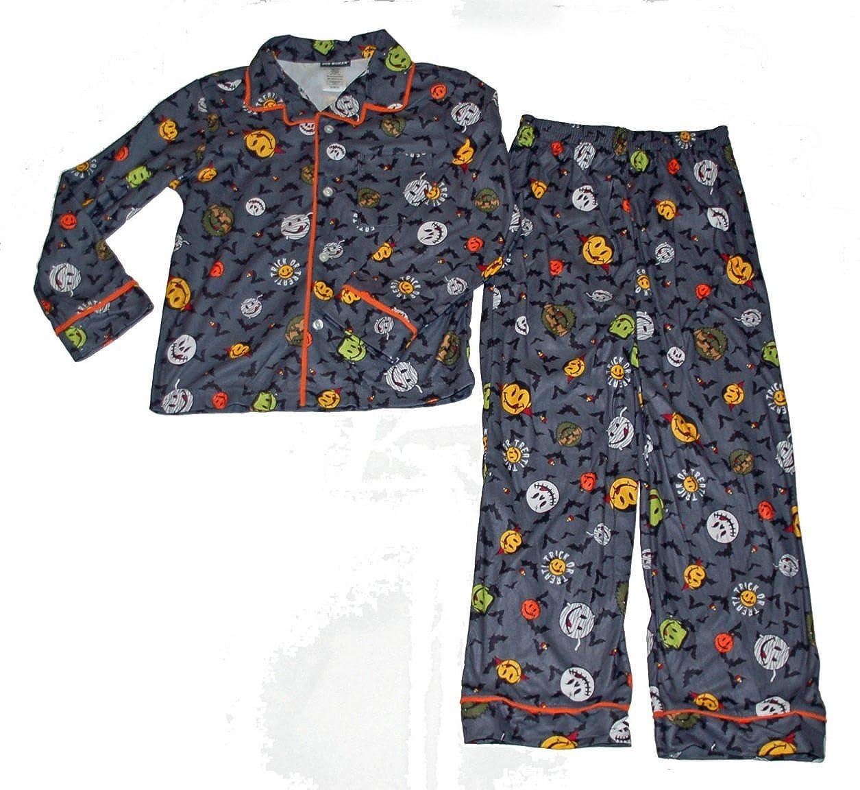 Joe Boxer Halloween 2 Piece Pajama Set Trick Treat Smile Faces and Bats