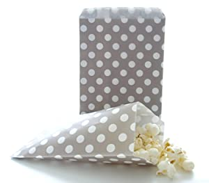 AKOAK 50 Pcs 5 x 7 Inches White Polka Dot Light Grey Paper Bags,Holiday Wedding Christmas Favor Candy Treat Bags