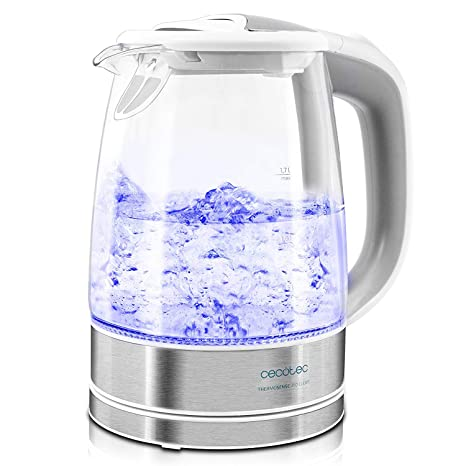 Cecotec Hervidor de Agua Eléctrico ThermoSense 350 Clear. 1,7 litros, Vidrio Borosilicato, Libre de BPA, Base 360º, Luz LED, Filtro Antical, Doble ...