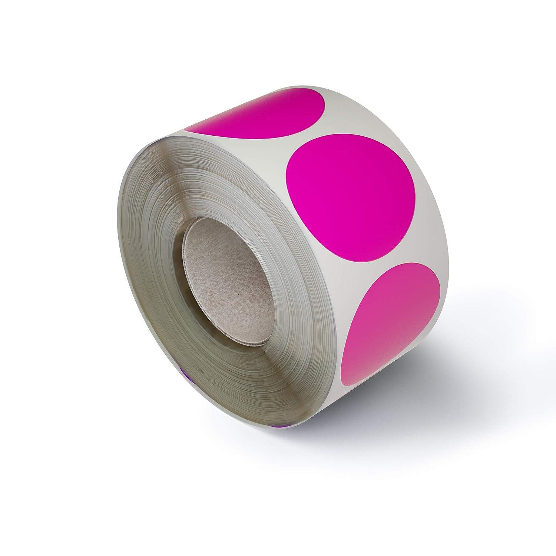Confezione da 600 Pezzi Royal Green Bollini Adesivi Rotondi 25 mm In Rotolo Colore Rosa