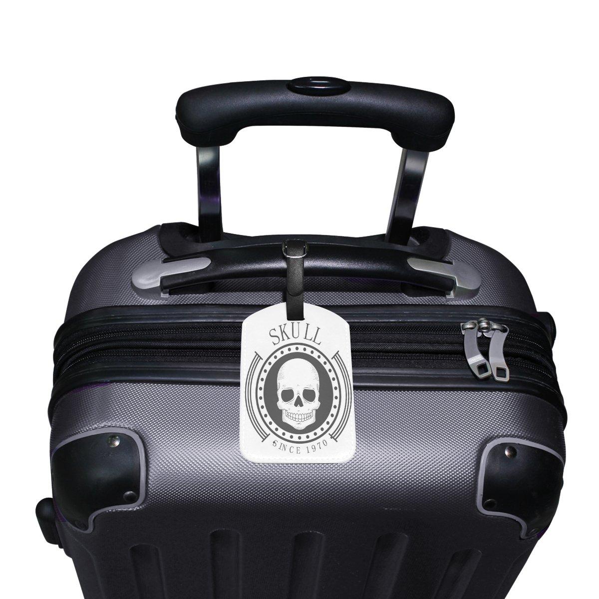 Saobao Travel Luggage Tag Skull PU Leather Baggage Suitcase Travel ID Bag Tag 1Pcs