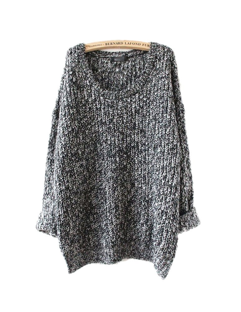 ARJOSA Women's Fashion Oversized Knitted Crewneck Casual Pullovers Sweater (#5 Grey)