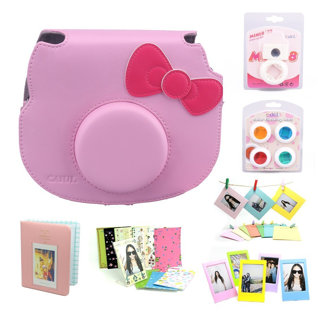Amazon CAIUL 7 In 1 Hello Kitty Camera Accessories BundlePink Case Mini Album Close Up Selfie Lens 4 Colors Wall Hang