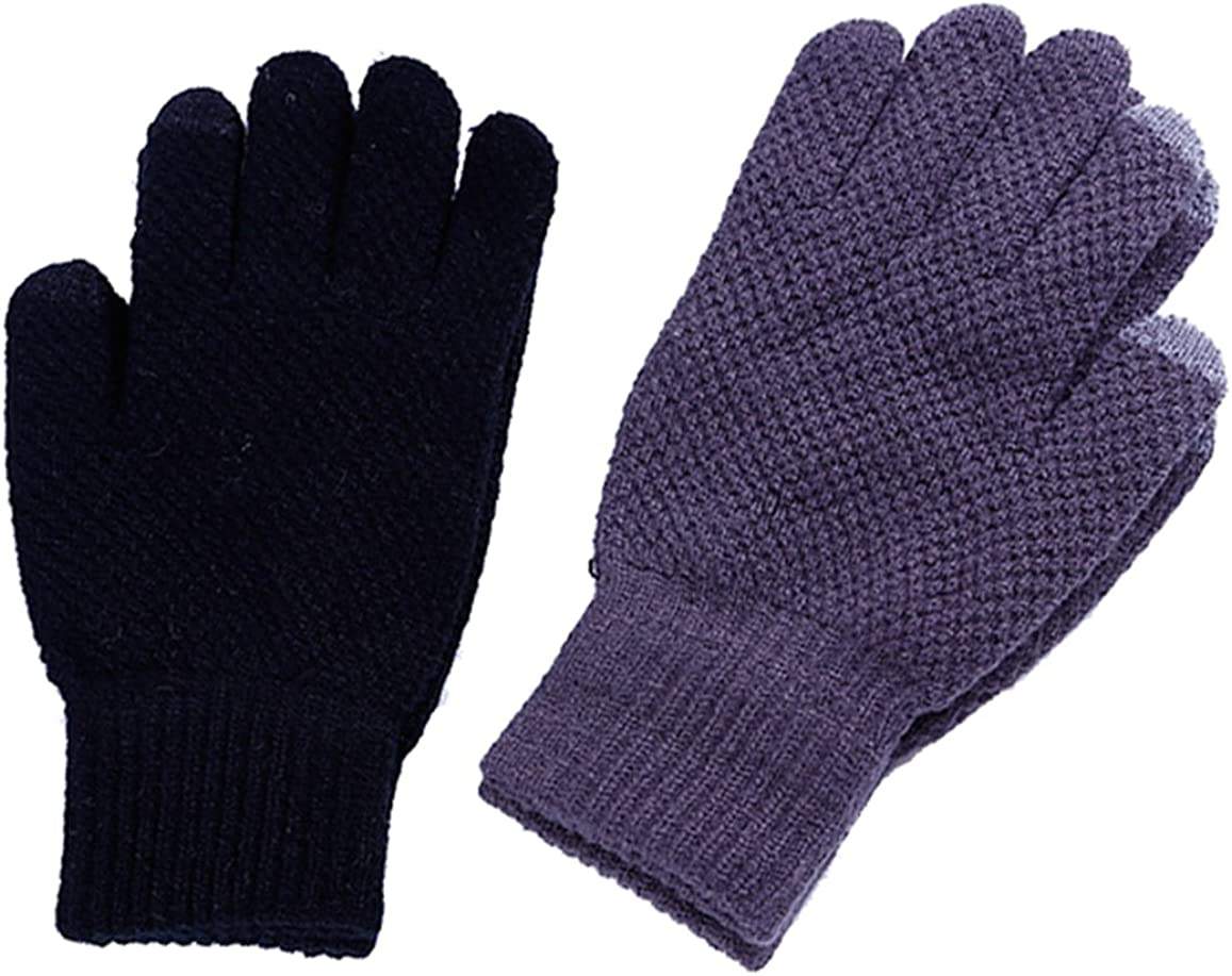 Bevogue Mens Warmer Winter Knitted Touchscreen Thick Gloves-Grey